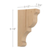 "Transitional Extra Small Bar Bracket Corbel, 1 3/4""w x 6 1/8""h x 3 1/2""d"