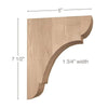 "Classic Small Bar Bracket Corbel, 1 3/4""w x 7 1/2""h x 5""d"