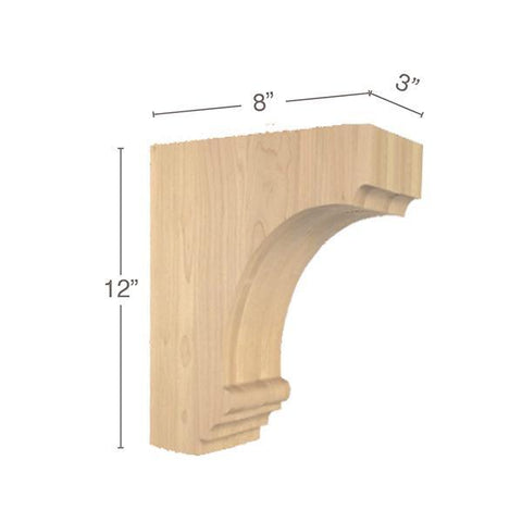 "Cavetto Large Bar Bracket, 3""w x 12""h x 8""d"