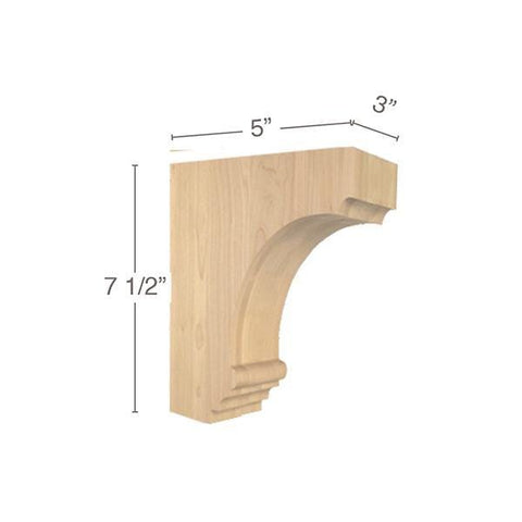 "Cavetto Small Bar Bracket, 3""w x 7 1/2""h x 5""d"