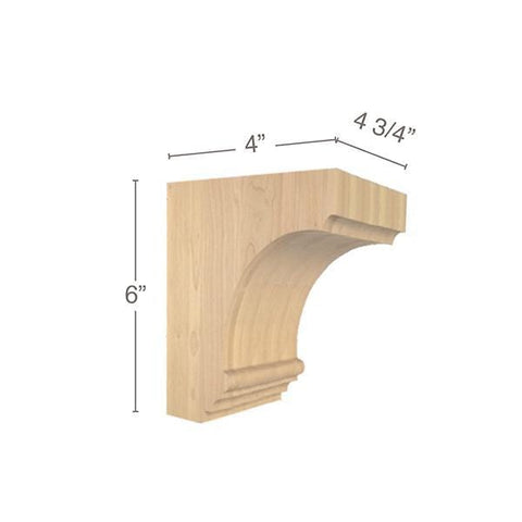 "Cavetto Extra Small Bar Bracket, 4  3/4""w x 6""h x 4""d"