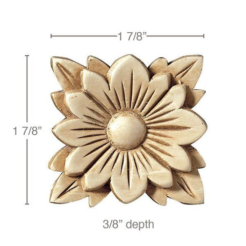 Flower Rosette, 1 7/8''w x 1 7/8''h x 3/8''d, Petite Square (Sold 4 per card)