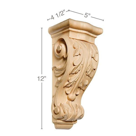 Small Acanthus Corbel, 5''w x 12''h x 4 1/2''d