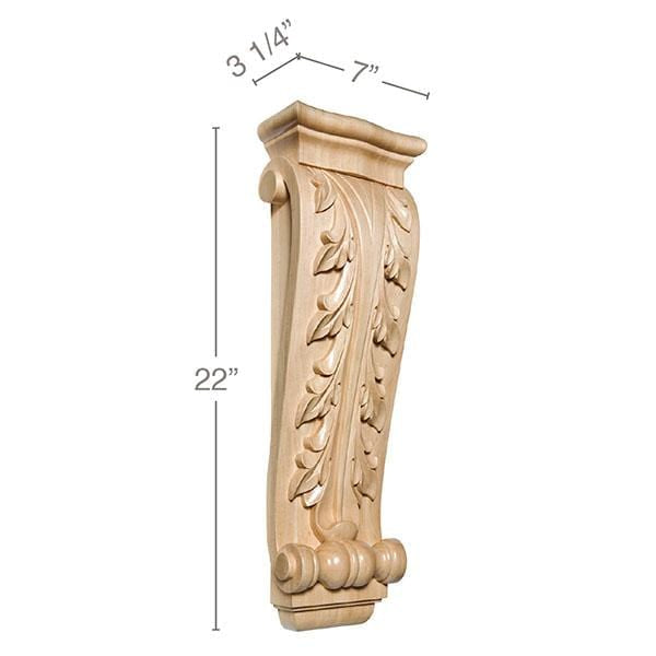 "Extra Large Acanthus Corbel, 7""w x 22""h x 3 1/4""d"