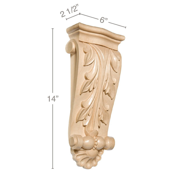 Large Acanthus with Shell Corbel, 6''w x 14''h x 2 1/2''d