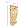 Medium Acanthus with Shell Corbel Maple, 4 1/2''w x 10''h x 1 3/4''d, Lindenwood