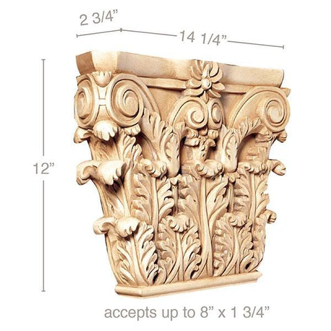 "Large Corinthian Capital, 14 1/4""w x 12""h x 2 3/4""d, (accepts up to 8""w x 1 3/4""d)"