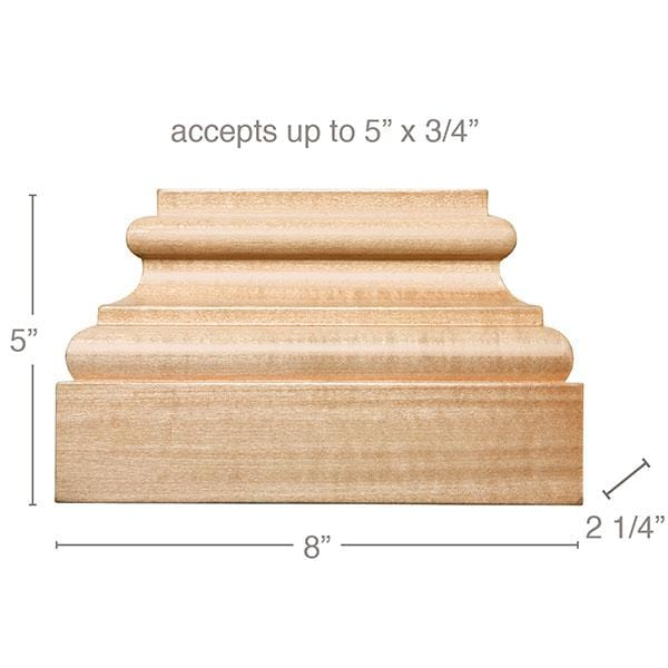 "Extra Large Square Plynth, 8""w x 5""h x 2 1/4""d, (accepts up to 5""w x 3/4""d)"