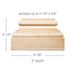 "Large Square Plynth, 6 7/8""w x 4 1/4""h x 2""d, (accepts up to 4 1/4""w x 3/4""d)"