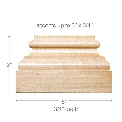 "Medium Square Plynth, 5""w x 3""h x 1 3/4""d, (accepts up to 3""w x 3/4""d)"
