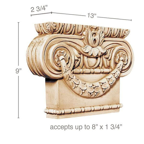 "Large Ionic Capital, 13''w x 9''h x 2 3/4''d, (accepts up to 1 3/4""w x 8""d),"