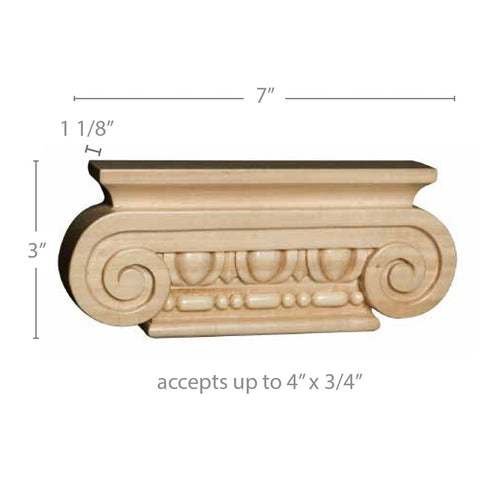 "Small Ionic Capital (accepts up to 3/4"" x 4"" ), 7''w x 3''h x 1 1/8''d"