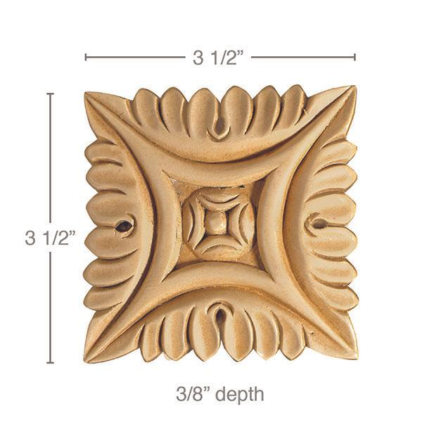 Medium Square Rosette (Sold 2 per card), 3 1/2''w x 3/8''h x 3 1/2''d