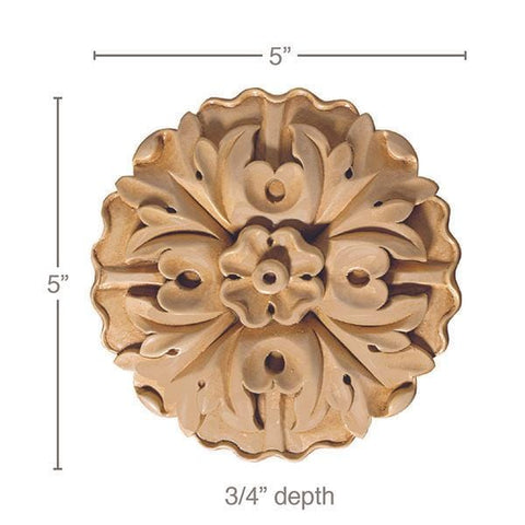 "Large Round Rosette (Sold 2 per card), 5""w x 5""h x 5/8""d"