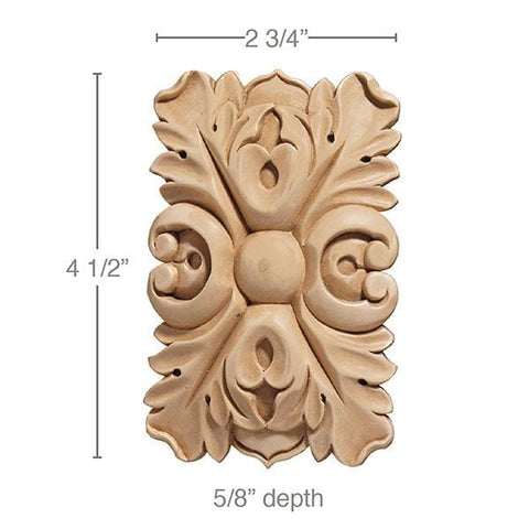 Small Rectangular Rosette (Sold 2 per card), 2 3/4''w x 4 1/2''h x 5/8''d