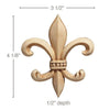 Medium Fleur de Lis (Sold 4 per card), 3 1/2''w x 4 1/8''h x 1/2''d