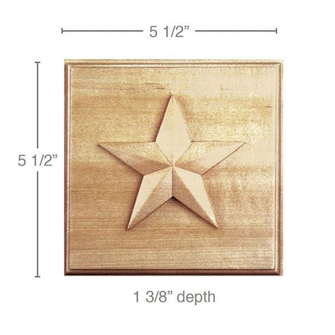 "Medium Star Rosette (Sold 2 per card, accepts 13/16"" casing, star is 4), 5 1/2''w x 5 1/2''h x 1 3/8''d"