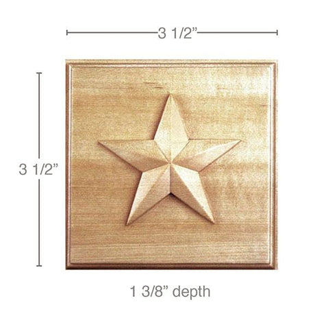"Small Star Rosette (Sold 2 per card, accepts 13/16"" casing, star is 2 1/2), 3 1/2''w x 3 1/2''h x 1 3/8''d"