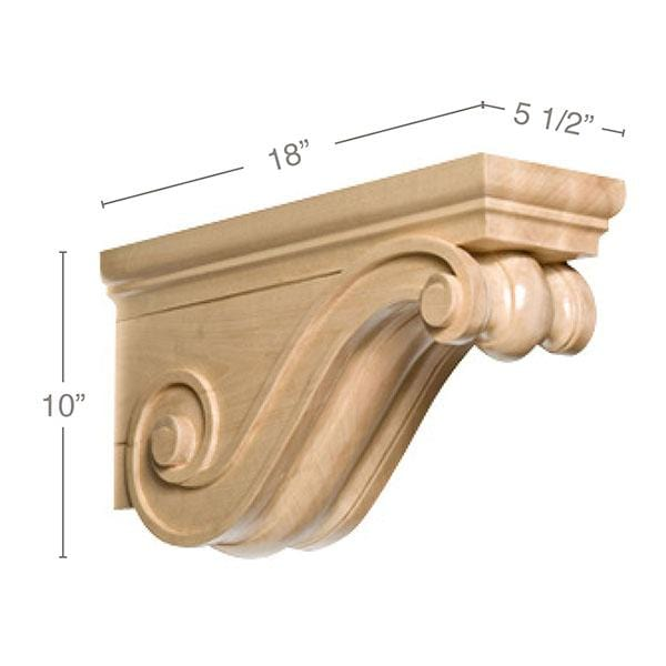 "Traditional Rangehood Corbel, 5 1/2""w x 10""h x 18""d"