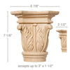 "Extra Large Acanthus Capital, 6 7/8""w x 7 1/8""h x 3 1/2""d, (accepts up to 3""w x 1 1/2""d)"