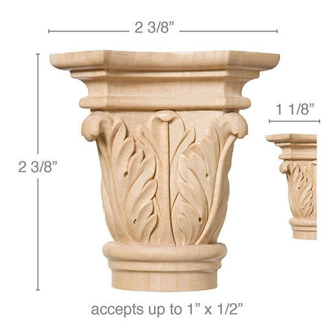 "Small Acanthus Capital, 2 3/8''w x 2 3/8''h x 1 1/8''d, (accepts up to 1""w x 1/2""d), Sold 2 per package"