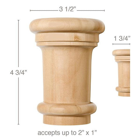 "Large Traditional Capital, 3 1/2''w x 4 3/4''h x 1 3/4''d, (accepts up to 2""w x 1""d), Sold 2 per package"