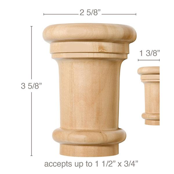 "Medium Traditional Capital, 2 5/8''w x 3 5/8''h x 1 3/8''d, (accepts up to 1 1/2""w x 3/4""d), Sold 2 per package"