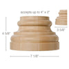 "Grand Traditional Base, 7 1/8''w x 4 5/8''h x 3 5/8''d, (accepts up to 4""w x 2""d)"