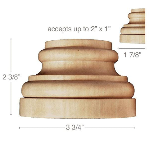 "Large Traditional Plynth, 3 3/4''w x 2 3/8''h x 1 7/8''d, (accepts up to 2""w x 1""d), Sold 2 per package"