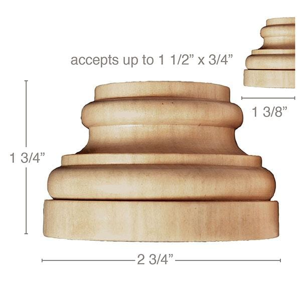 "Medium Traditional Plynth, 2 3/4''w x 1 3/4''h x 1 3/8''d, (accepts up to 1 1/2""w x 3/4""d), Sold 2 per package"