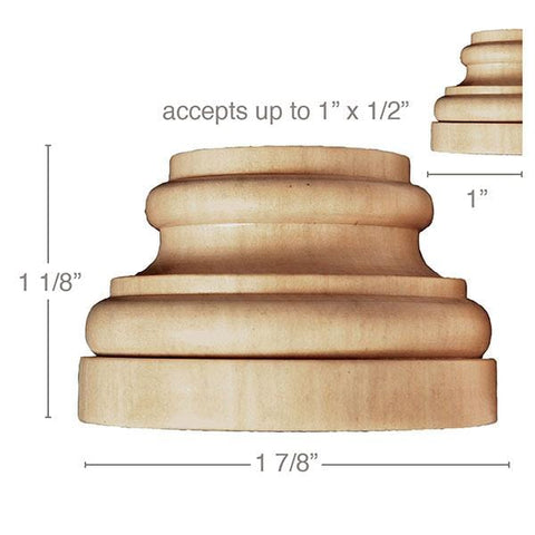 "Small Traditional Plynth, 1 7/8''w x 1 1/8''h x 1''d, (accepts up to 1""w x 1/2""d), Sold 2 per package"
