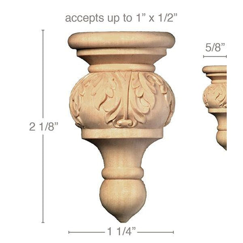 "Small Acanthus Finial, 1 1/4''w x 2 1/8''h x 5/8''d, (accepts up to 1""w x 1/2""d), Sold 2 per package"