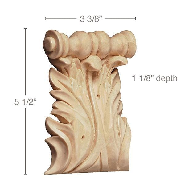 "Extra Large Acanthus Spool Corbel, (Sold 2 per card, complements large capitals and 5 1/4"" friezes) 3 3/8''w x 5 1/2''h x 1 1/8''d"