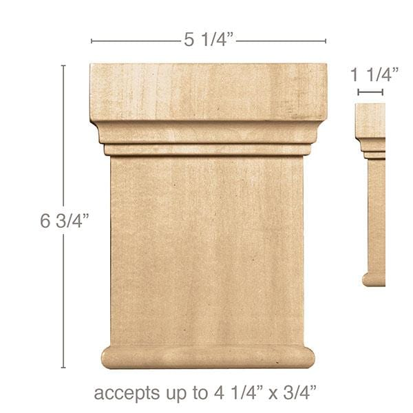 Large Traditional Capital(Accepts up to 4 1/4 x 3/4), 5 1/4''w x 6 3/4''h x 1 1/4''d