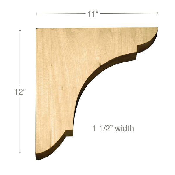 "Large Wall Bracket, 1 1/2""w x 12""h x 11""d"