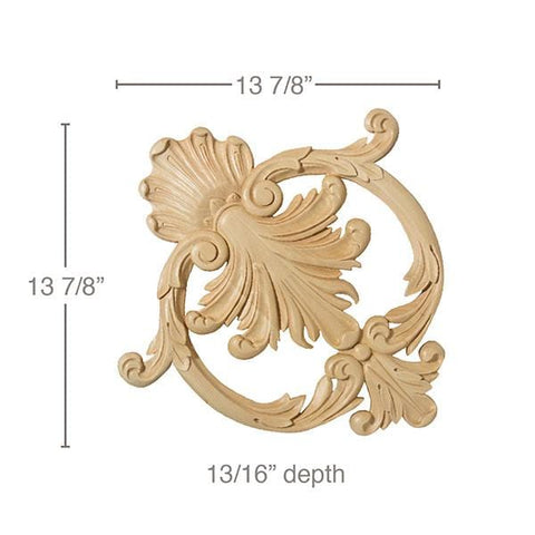 "Med Ceiling Cartouche, 13 7/8""w x 13 7/8""h x 13/16""d, Lindenwood"
