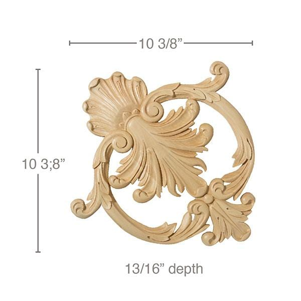 "Small Ceiling Cartouche, 10 3/8""w x 10 3/8""h x 13/16""d, Lindenwood"