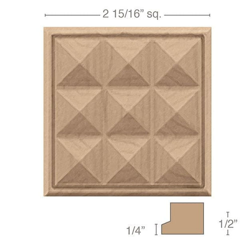 "Small Apex Tile, 2 15/16"" sq. x 1/2""d"