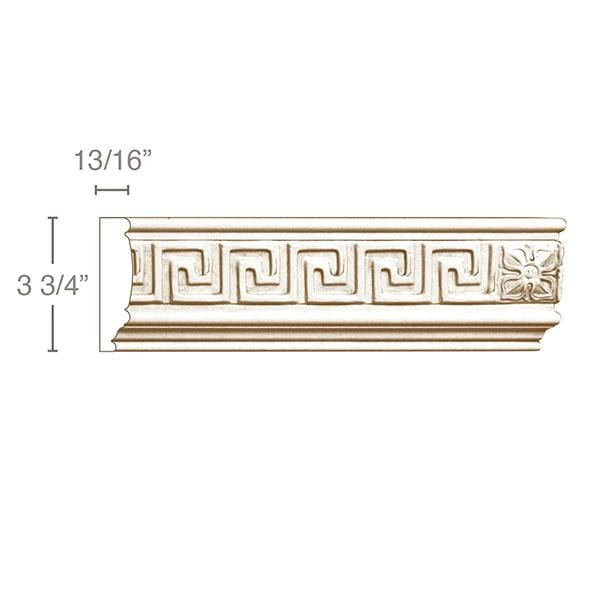 Greek Key with Rosette (Repeats 19 MT=7/8), 3 3/4''w x 13/16''d