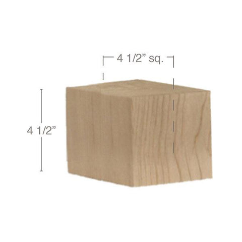 "Contemporary Straight Square Bun Foot, 4 1/2""sq. x 4 1/2""h"