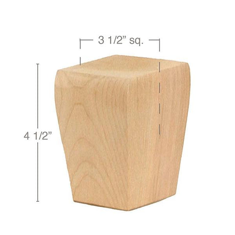 "Shaker Tall Tapered Square Bun Foot, 3 1/2""sq. x 4 1/2""h"