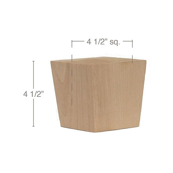 "Shaker Tapered Square Bun Foot, 4 1/2""sq. x 4 1/2""h"