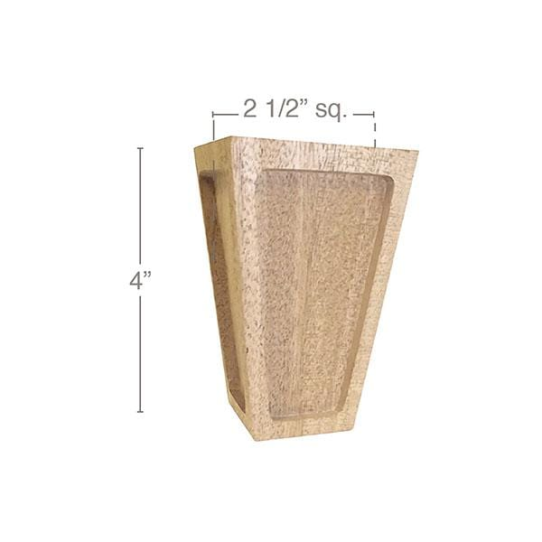 "Mission Tall Square Bun Foot, 2 1/2""sq. x 4""h"