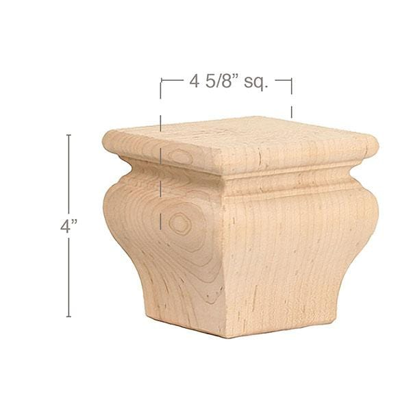 "Classic Square Bun Foot, 4 5/8""sq. x 4""h"