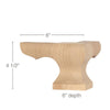"Corner Square Face Wood Pedestal Foot, 6""w x 4 1/2""h x 6""d"