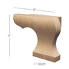 "Right Curved Edge Wood Pedestal Foot, 6""w x 4""h x 1""d"