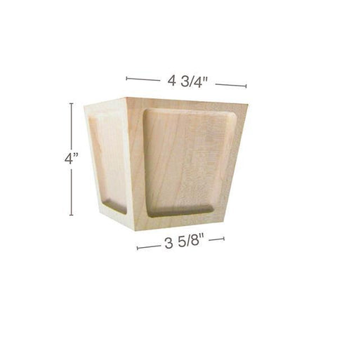 "Square Recessed Panel Foot, 4  3/4""w x 4""h x 4  3/4""d"
