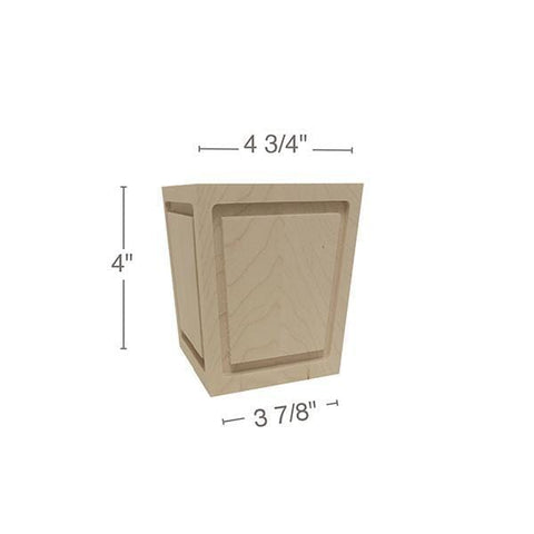 "Square Raised Panel Foot, 4  3/4""sq. x 4""h"