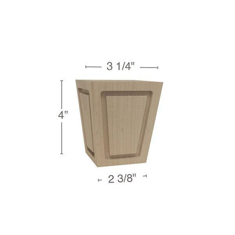 "Square Raised Panel Foot, 3  1/4""sq. x 4""h"