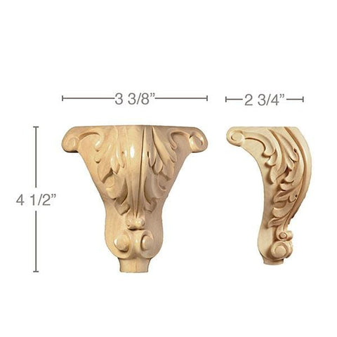 "Acanthus Corner Foot(Sold 1 per package), 3 3/8""w x 4 1/2""h x 2 3/4""d"